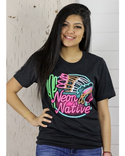 Neon Native Tee in Black by Crazy Train
