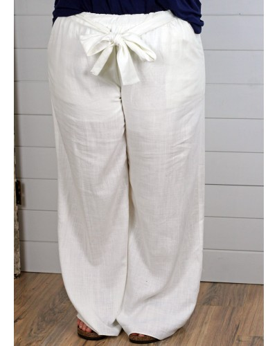 Pants with Belt in Ivory by Spin