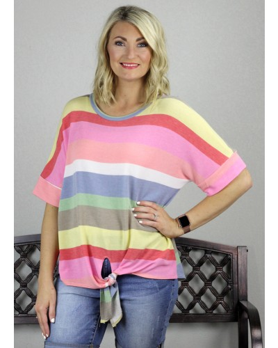 Striped Knot Front Top in Multi by Jodifl