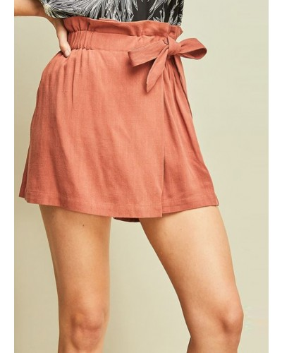 Shorts with Wrap Detail in Marsala