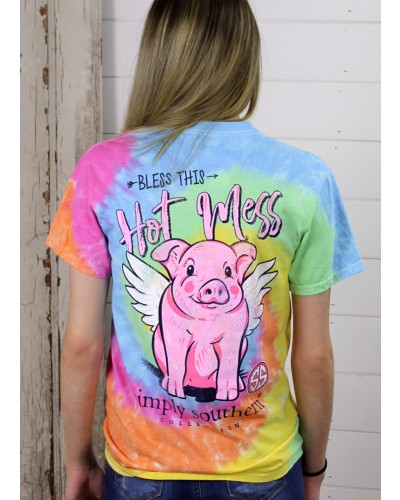 Preppy Hot Mess Tee in Tie Dye by Simply Southern