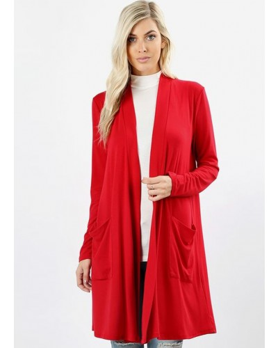 L/S Slouchy Pocket Cardigan in Ruby