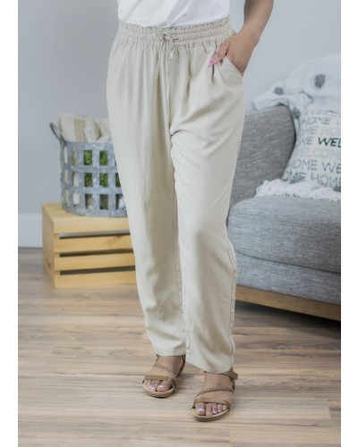 Drawstring Woven Pant in Taupe by Ellison
