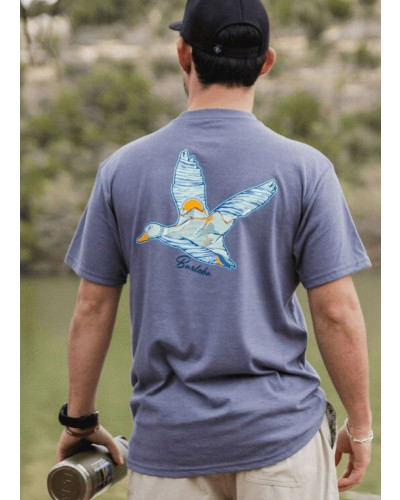 S/S Scenic Duck Tee in Heather Blue Jean by Burlebo