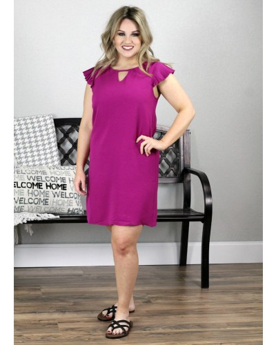 Flutter Pleated Sleeve Dress in Magenta