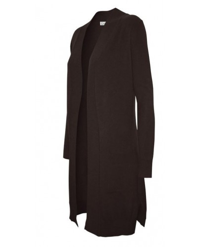 Long Open Front Cardigan with Pockets in Black by Cielo Jeans