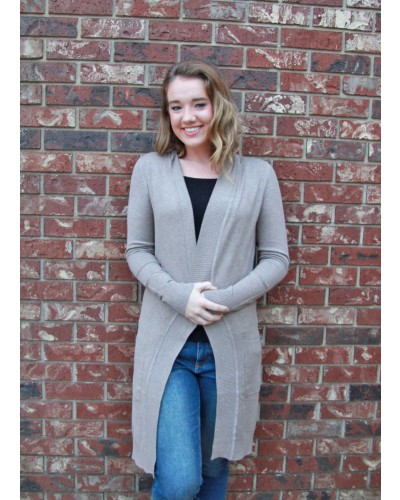 Long Open Front Cardigan with Pockets in Camel