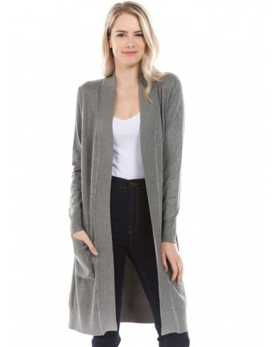 Long Open Front Cardigan with Pockets in Heather Grey