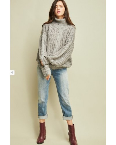 Cable Knit Turtle Neck Sweater in Grey