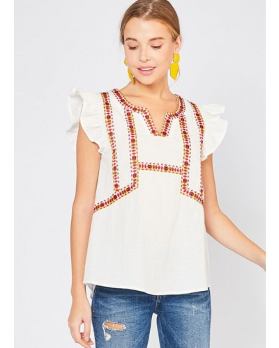 2163162f76 Embroidered Top in White