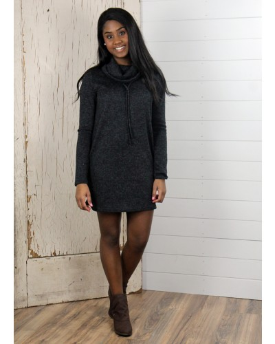 Tone Sweater Turtle Neck Dress in Black by Twenty Second