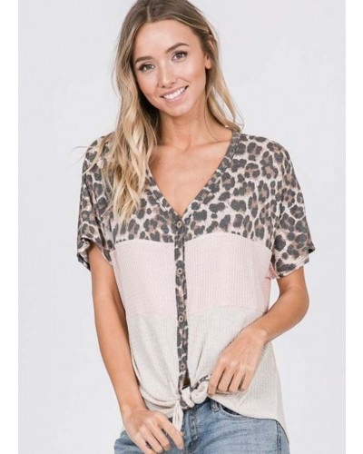 Animal Print Button Up Top in Blush/Oatmeal