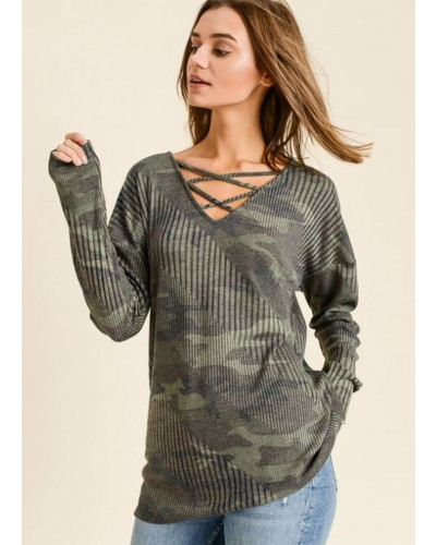 Criss Cross V Neck Camo Top in Army Green by First Love