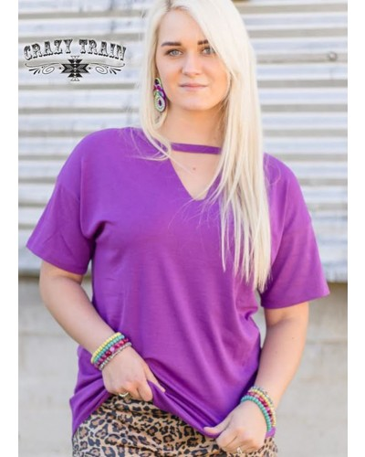 Textline V Neck Shirt in Purple by Crazy Train