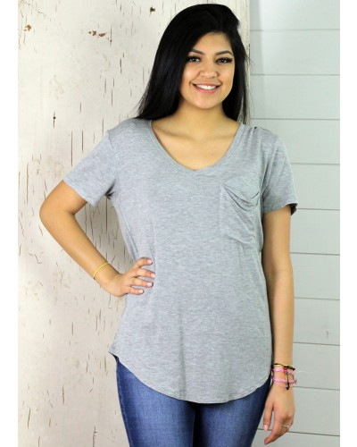 Phoenix Pocket Tee in Heather Grey by Another Love