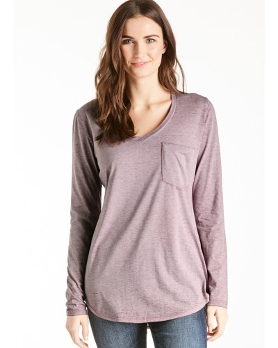 L/S V Neck Molly Burnout Pocket Tee in Dusty Lilac by Another Love