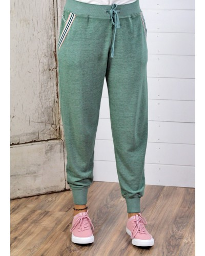 Angela Burnout Jogger w/Stripe Detail in Fern by Another Love