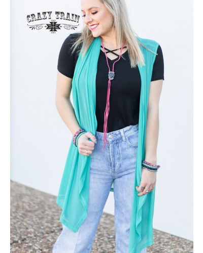 Virginia Vest in Turquoise by Crazy Train