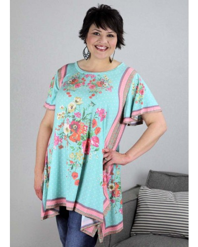 7f582088d4d Plus S S Floral Scarf Print Tunic in Mint Mix by Umgee