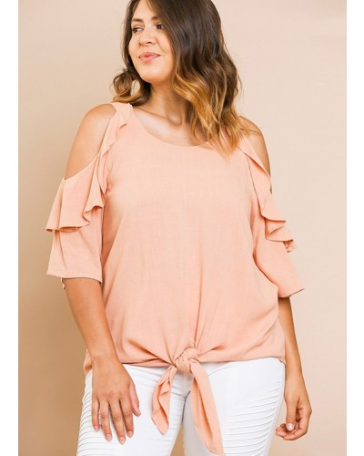 6e24e78fce90ed Plus Ruffled Open Shoulder Top in Blush by Umgee