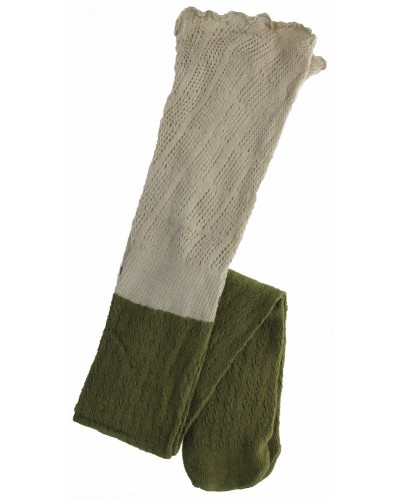 Two-Toned Knee High Sock in Army Green by Peek A Boot