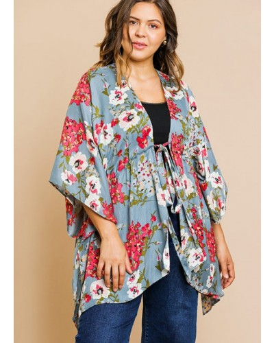 3019bc7e62f Plus Floral Print Kimono in Cool Grey Mix by Umgee