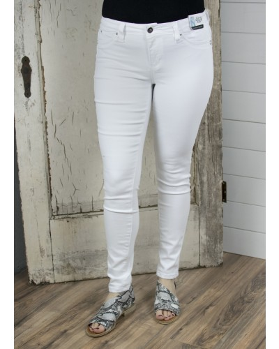 One Button Skinny Pant in White by YMI