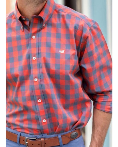 Pickens Gingham Dress Shirt in Slate/Red by Southern Marsh
