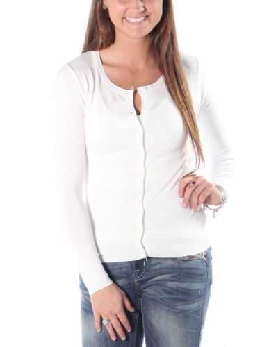 Basic Round Neck Cardigan in White