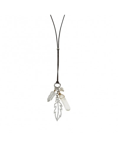 Leather Feather Cluster Necklace in Crystal Quartz by Canvas Jewelry