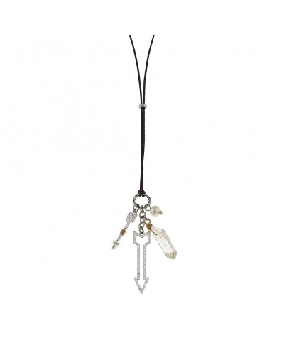 Leather Arrow Cluster Necklace in Crystal Quartz by Canvas Jewelry