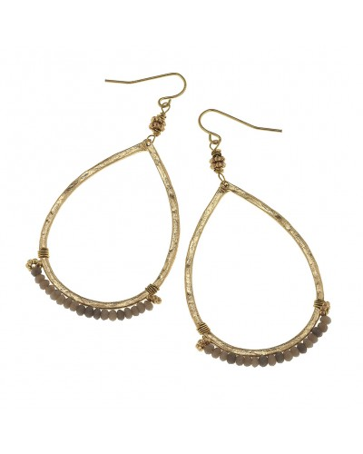 Wired Beads Teardrop Earrings in Gray Glass with Gold Tones by Canvas Jewelry