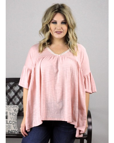 Baby Doll Lace Trimmed Tee in Peach by Soul Thread