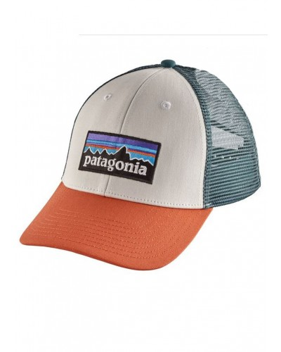 P-6 Logo LoPro Trucker Hat in White/Sunset Orange by Patagonia