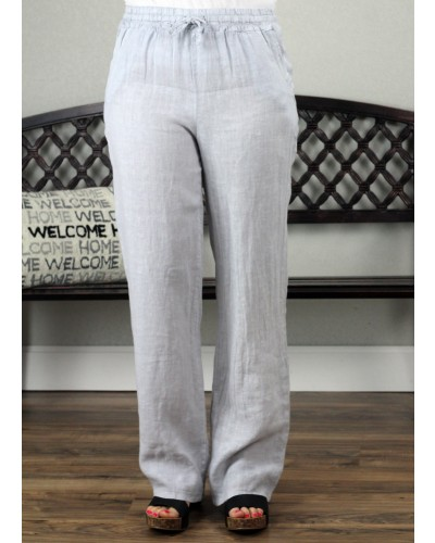 Palazzo Linen Pant in Silver by Tempo Paris