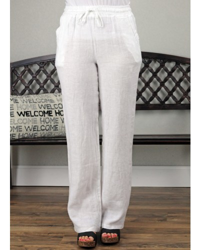 Palazzo Linen Pant in White by Tempo Paris