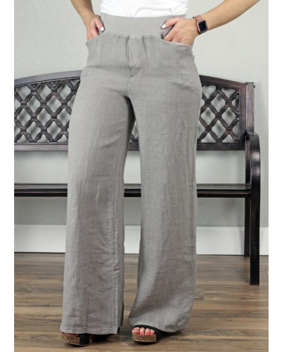 Wide Leg Linen Pant in Taupe by Tempo Paris