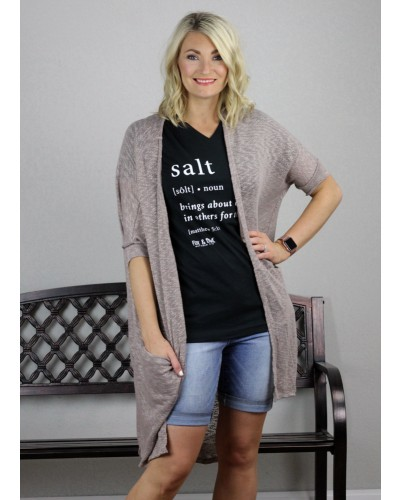 Cardigan in Taupe by PSY Apparel