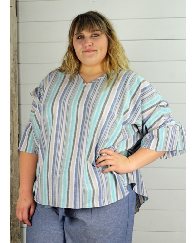 Top with Button Back Detail in Taupe/Blue Stripe by Spin