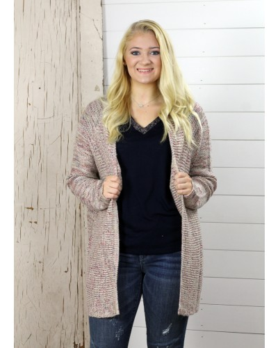 L/S Sweater Cardigan in Cream/Pink by Dex