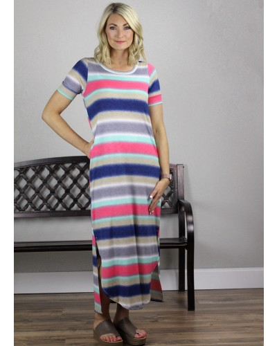 Colorblock Maxi Dress in Multi by Andree by Unit