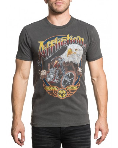 S/S Garage Painting Tee in Vintage Black Pigment Dye by Affliction