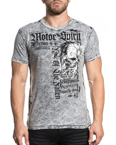S/S  Milan Reversible Tee in Black/White Lava Tint by Affliction