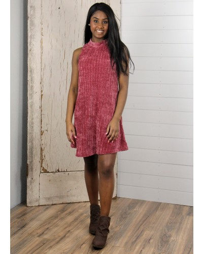 Sleeveless Mock Neck Chenille Dress in Red by Sadie & Sage