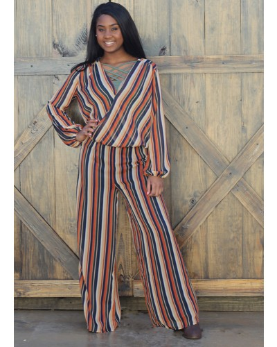 Dana Striped Flo/Multi Pants by Sadie & Sage