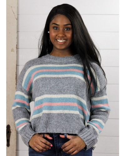 Candy Stripped Cropped Sweater in Grey Multi by Sadie & Sage