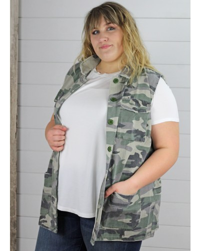Plus Army Button Up Vest by Jodifl