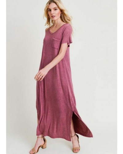 S/S Washed Maxi Dress in Marsala by Jodifl