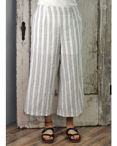 Striped Mid-Rise Wide Leg Pant in Off White by Umgee