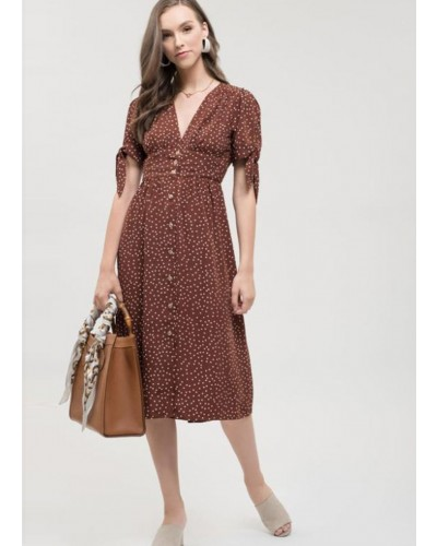 Polkadot Button Down Dress in Cinnamon